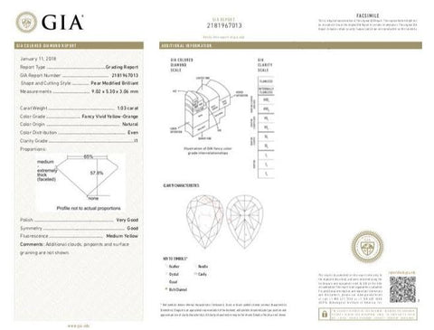 Pea, 1.03 Carat, Fancy Vivid Yellow Orange, I1. GIA Diamond's Report