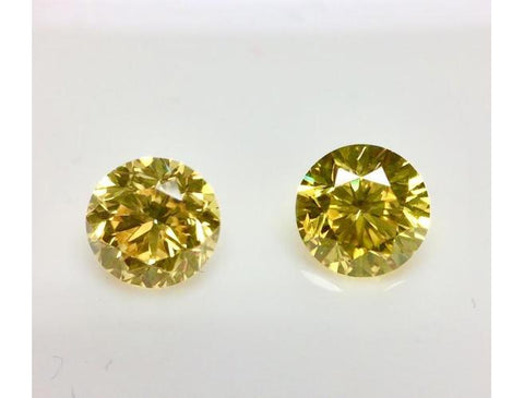 GIA Round 1.02cttw. Fancy Vivid Yellow Si2 Pair