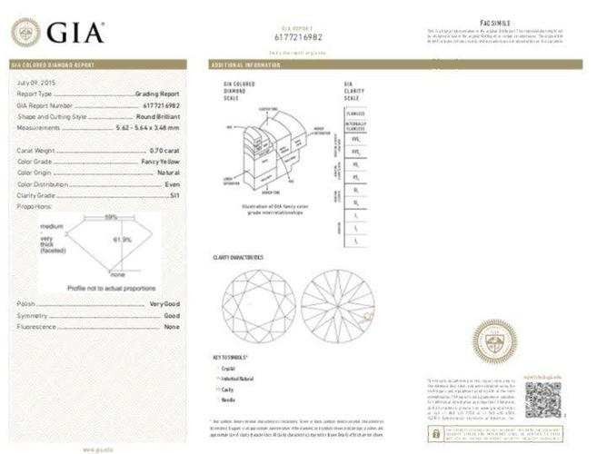 GIA Round 0.70ct. Natural Fancy Yellow SI1 Loose Diamond