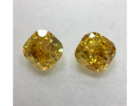 Cushion, 2.03 Carat, Fancy Vivid Orange Yellow Diamond Pair. DahanCollection.Com