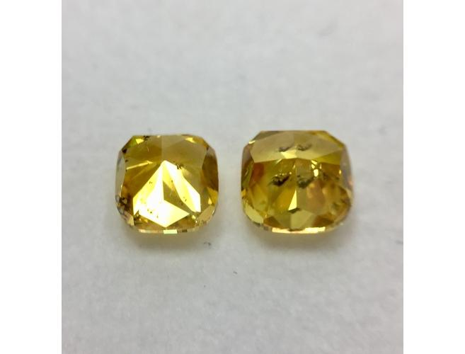Cushion, 2.03 Carat, Fancy Vivid Orange Yellow Diamond Pair