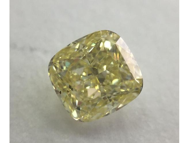 Cushion, 1.05 Carat, Fancy Yellow, SI2. Loose Diamond.