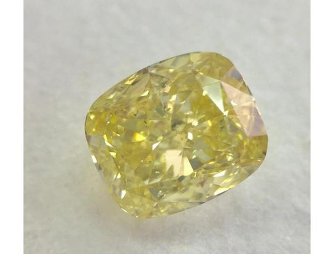 Cushion, 1.71 Carat, Fancy Yellow, I1. Loose Diamond.