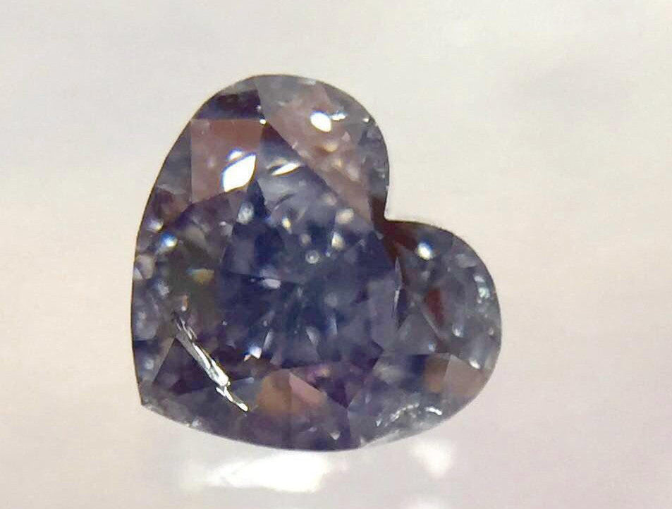 GIA Heart 0.37 Carat Fancy Grayish Violet Diamond