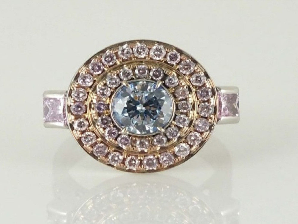 Pear 1.01 Carat Fancy Gray Blue I1 Diamond Ring-ColorDiamondsNet
