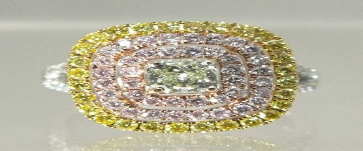 Natural Green Pink & Yellow Diamonds Ring-ColorDiamondsNet