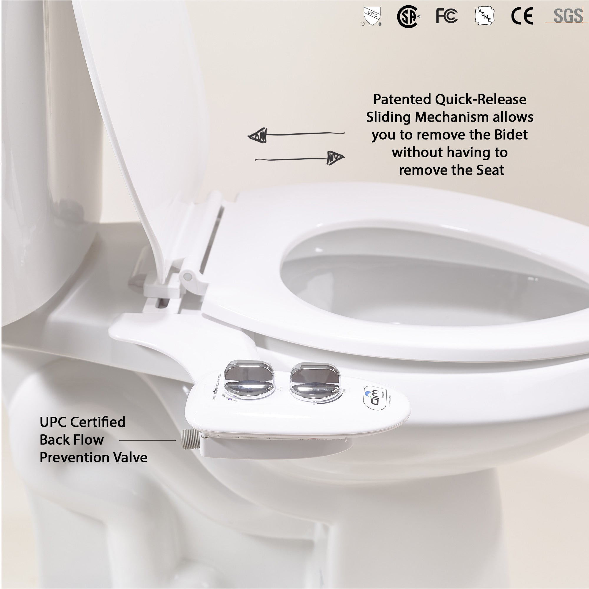 Chrome night lamps -  Mechanical Bidets Bidet Attachment Toilet Night Light Quick Release Aim To Wash
