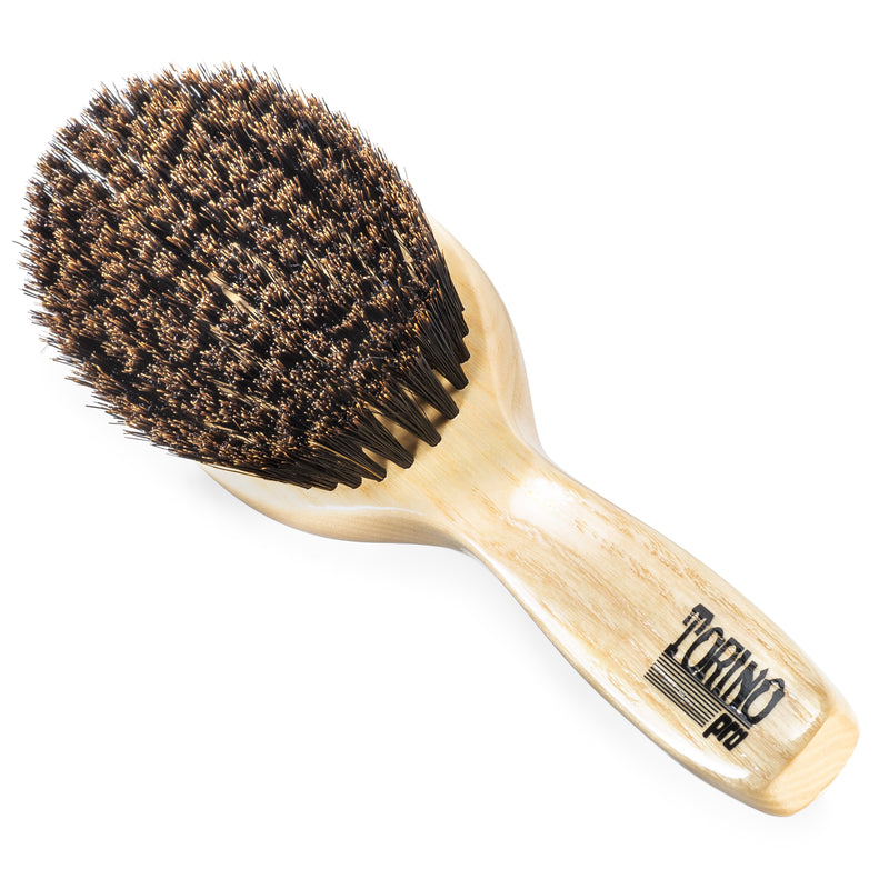 (NEW) Torino Pro Wave Brush #1190 Soft Oval Palm with Handle Brush for 360 Waves
