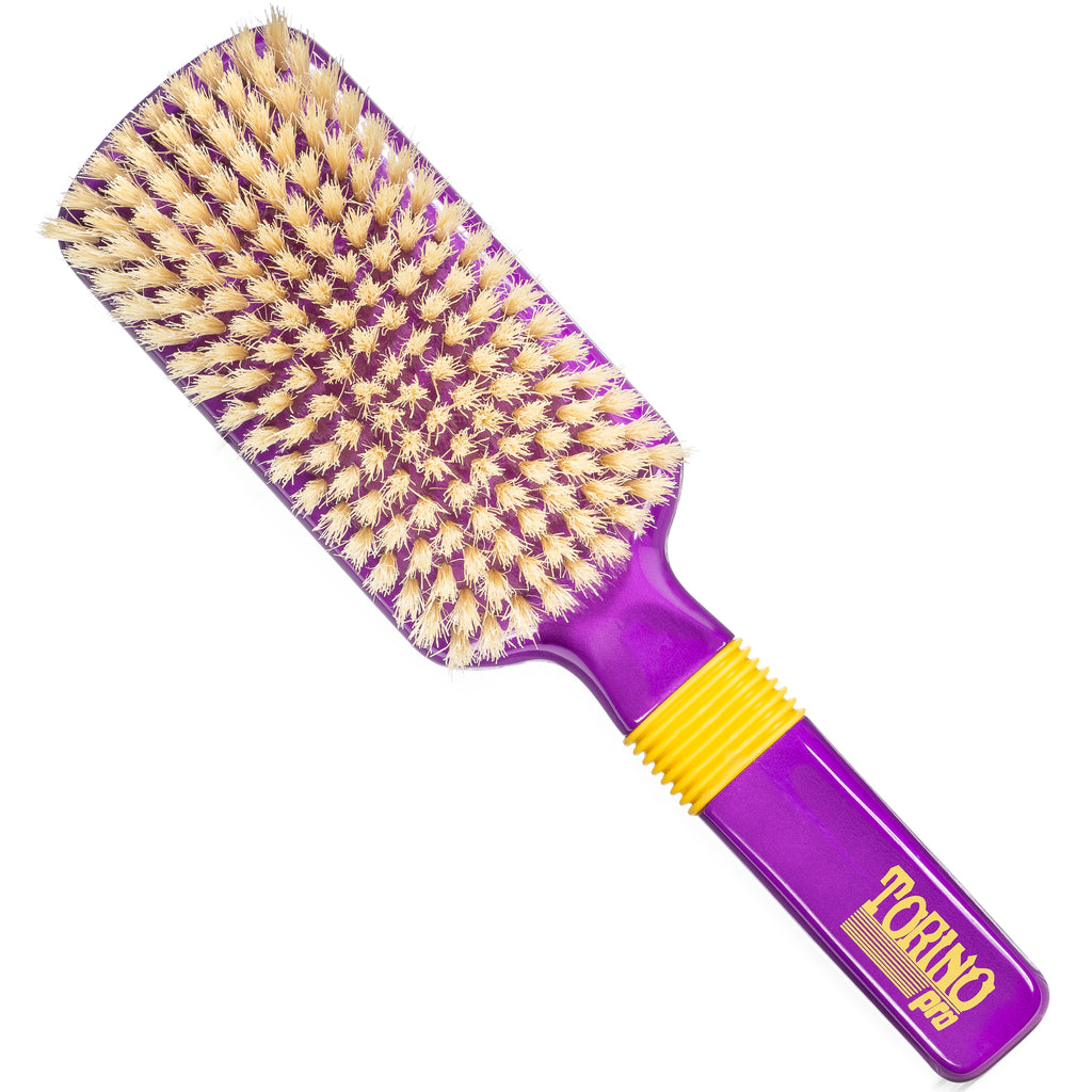 #1540 Torino Pro Soft Wave Brush by Brush King -  Rubber Grip Vertical Brush - 9 Rows 360 Wave Brush - Great for connections