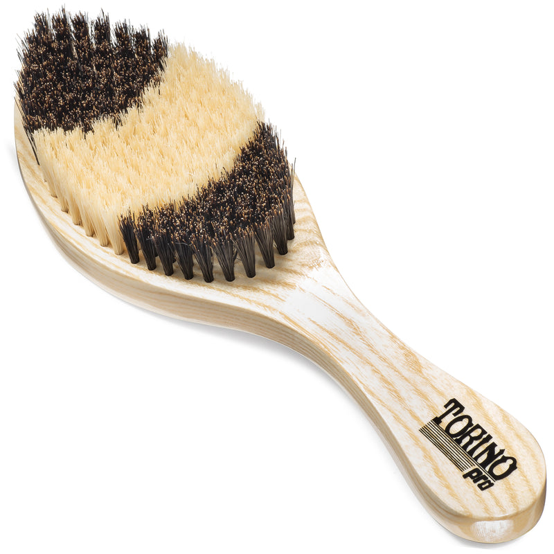 Torino Pro Wave Brush #1650 - Soft Curve Brush  - Patented Duet Collection- Different color on each side - Great for wolfing and Connections - Curved brush for 360 Waves