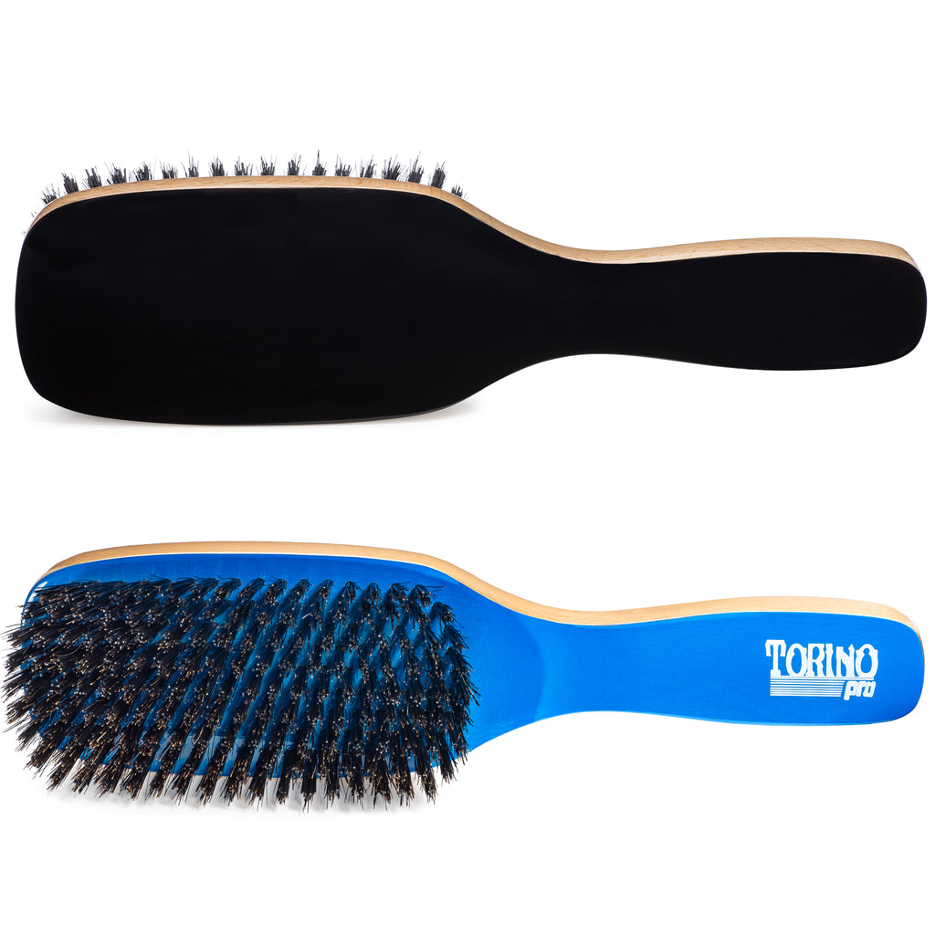 #1590 Torino Pro Medium Hard Wave Brush By Brush King - Duet collection - Different color on each side - 9 rows - Great for wolfing