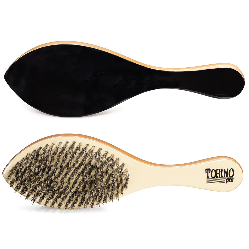 #1630 Torino Pro Hard Curve Brush By Brush King - Patented Duet Collection-DIfferent color on each side - Great for wolfing and Connections - Curved brush for 360 Waves