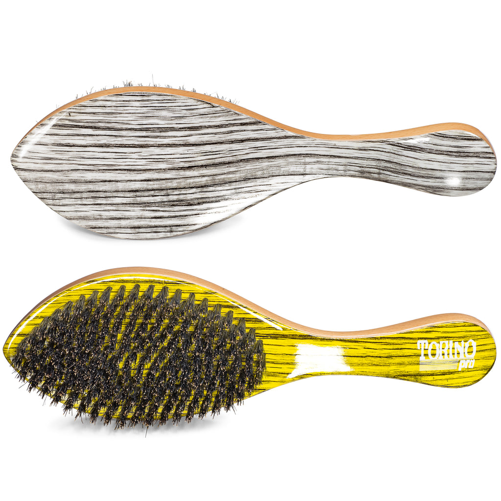 Torino Pro Wave Brush #1920 - Medium Curve Brush - Patented Duet Collection-Different color on each side - Great for wolfing and Connections - Curved brush for 360 Waves