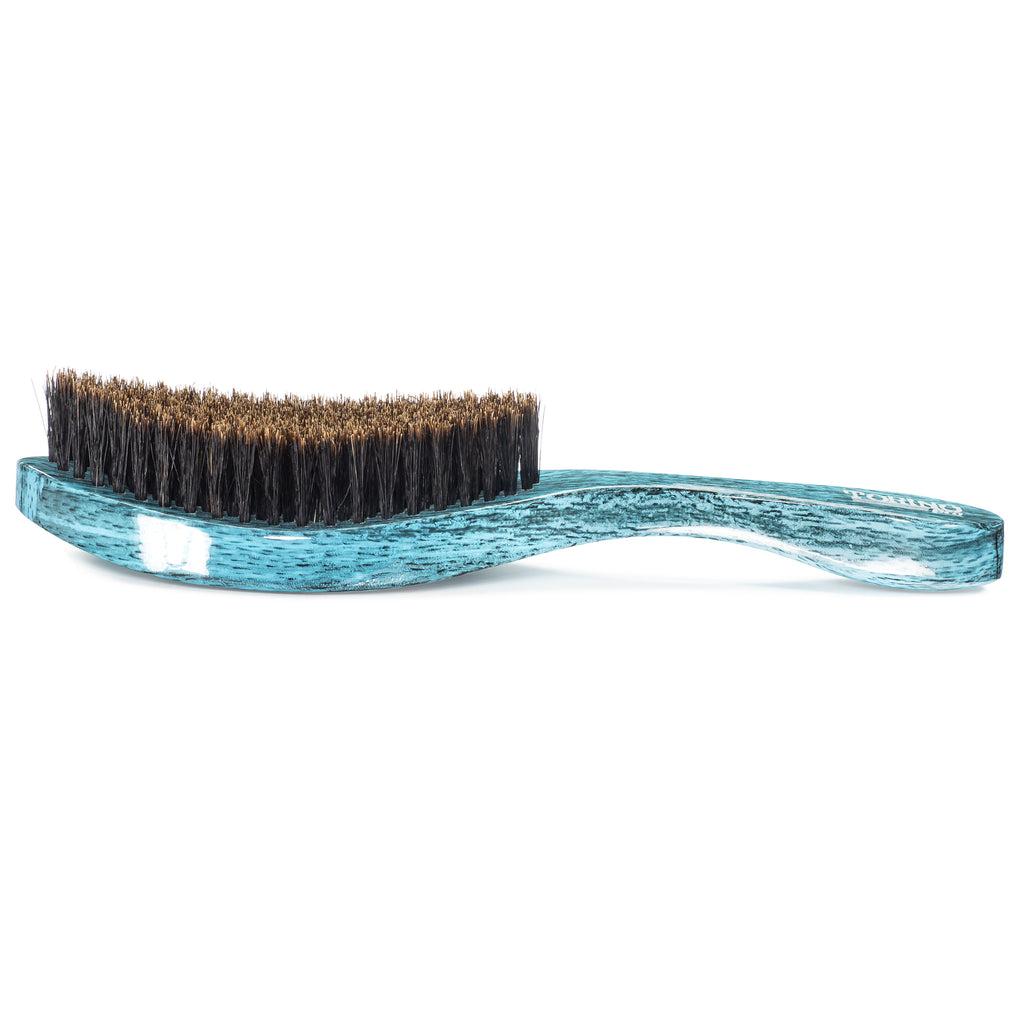 Torino Pro Wave Brush #1910 - Medium Soft Curved Wave Brush By Brush King  - 360 Curved softy - Great for Polishing and connections - for 360 waves - Great for Tenderheaded wavers