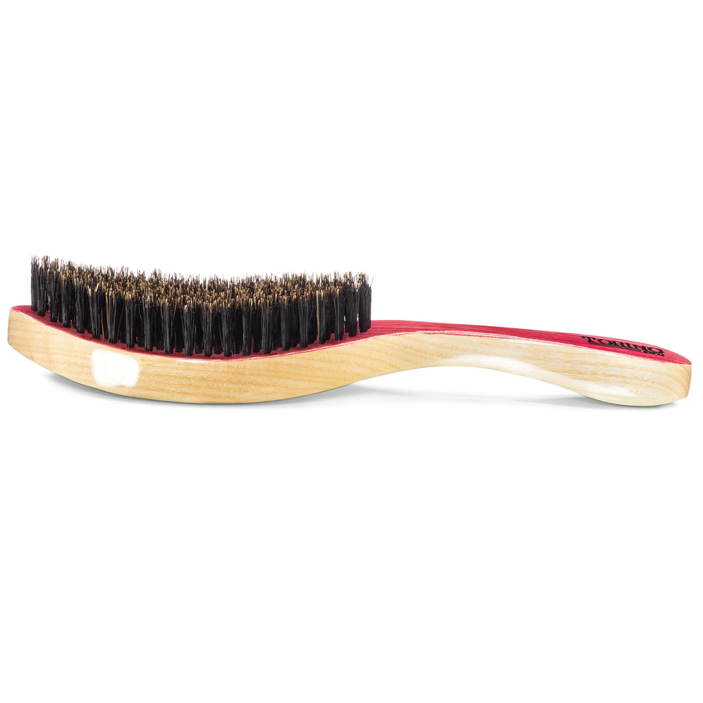 #1930 Torino Pro Medium firm Curve Brush By Brush King  - Patented Duet Collection-Different color on each side - Great for wolfing and Connections - Curved brush for 360 Waves