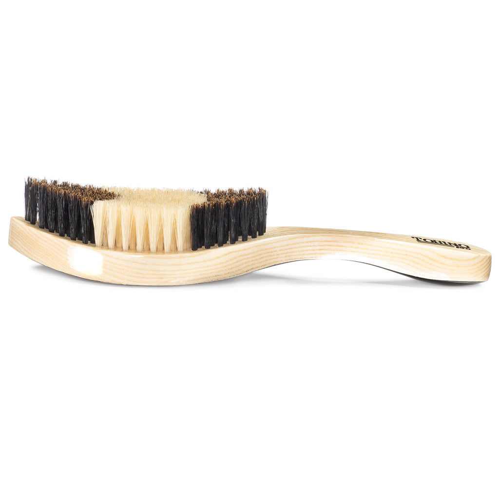 #1650 Torino Pro Soft Curve Brush By Brush King  - Patented Duet Collection- Different color on each side - Great for wolfing and Connections - Curved brush for 360 Waves