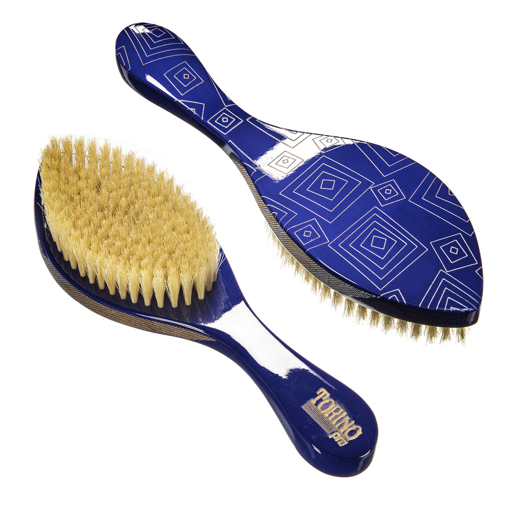 Torino Pro Wave Brush #104 - 360 Waves Curved Soft Brush- 100% Pure Boar Bristles