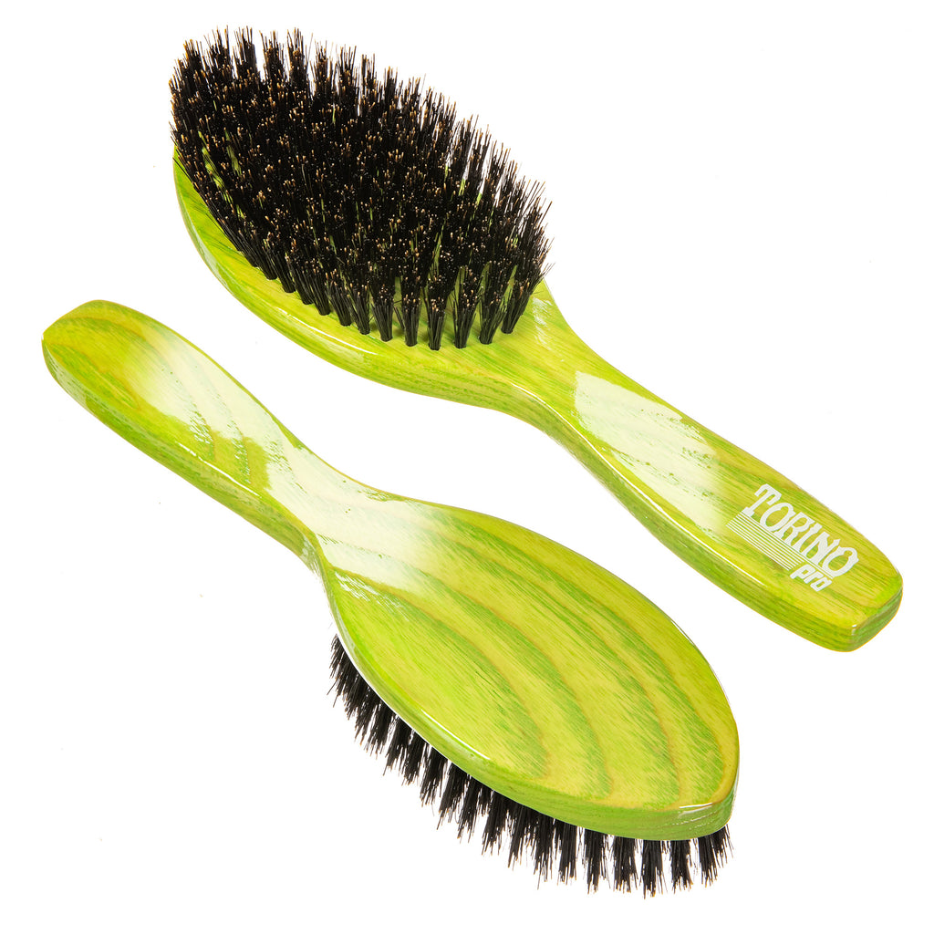Torino Pro Wave Brush #1120 - Medium Bristles- Updated Design - Oval Long Handle Wave Brush for 360 Waves