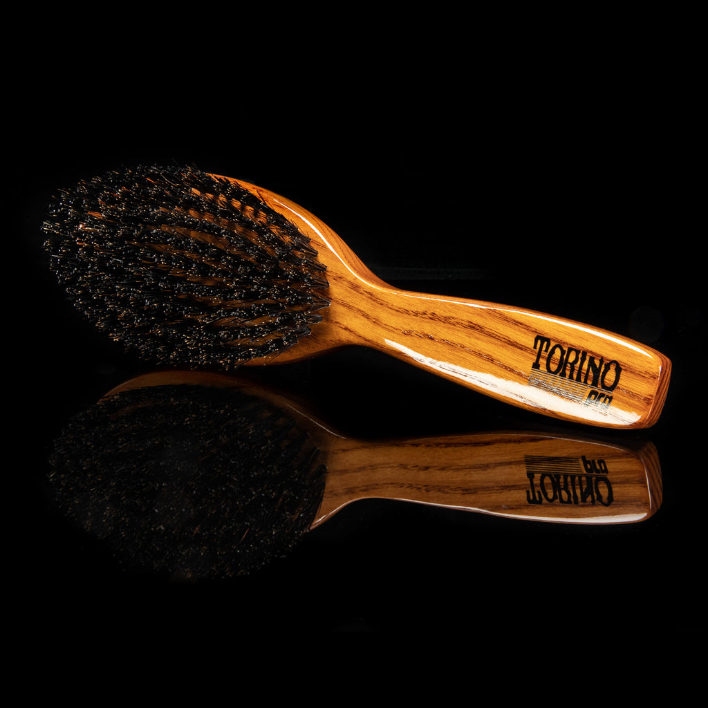 Torino Pro Wave Brush #1130 - Medium Hard - Updated Design - Oval Long Handle Wave Brush for 360 Waves