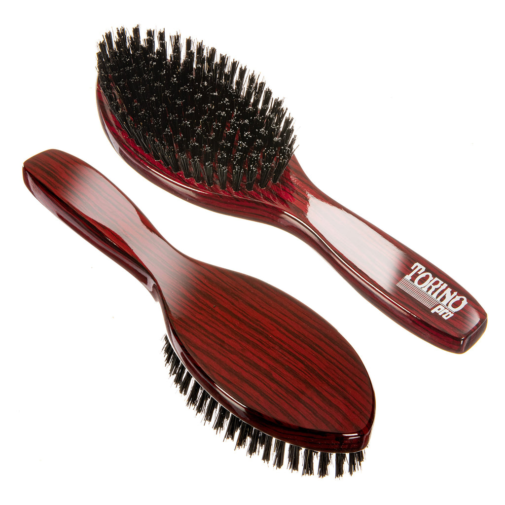 Torino Pro Wave Brush #1180 - Hard Bristles- Updated Design - Oval Long Handle Wave Brush for 360 Waves