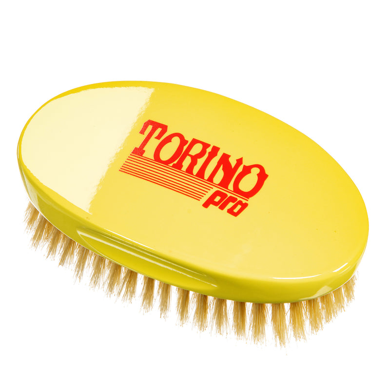 Torino Pro Wave Brush #123 - Jumbo Oval Palm Soft Brush with 100% Pure Boar Bristles