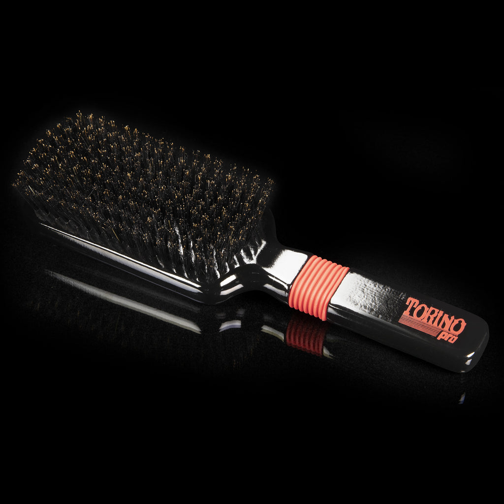 #1550 Torino Pro Medium Wave Brush By Brush King - Rubber Grip Vertical Brush - 360 Wave Brushes - Great for connections and Wolfing