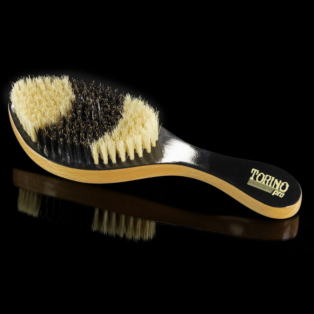#1640 Torino Pro Medium Curve Brush By Brush King - Patented Duet Collection- Different color on each side - Curved brush for 360 waves -