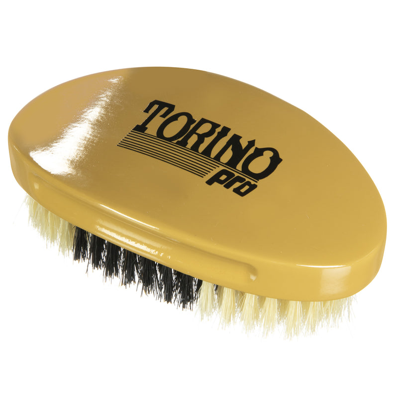 Torino Pro Wave Brush #1760-  Hybrid Medium Soft Curve Brush By Brush King - - Soft top ,Medium in the middle, soft in the bottom - Great for polishing your waves and Connections - Curved brush for 360 Waves