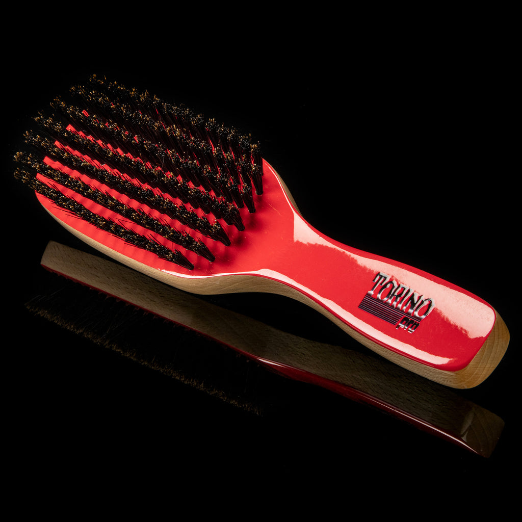Torino Pro Wave Brush #190- 7 Rows Medium Fatality Edition - Duet Collection- 100% Pure Boar Bristles