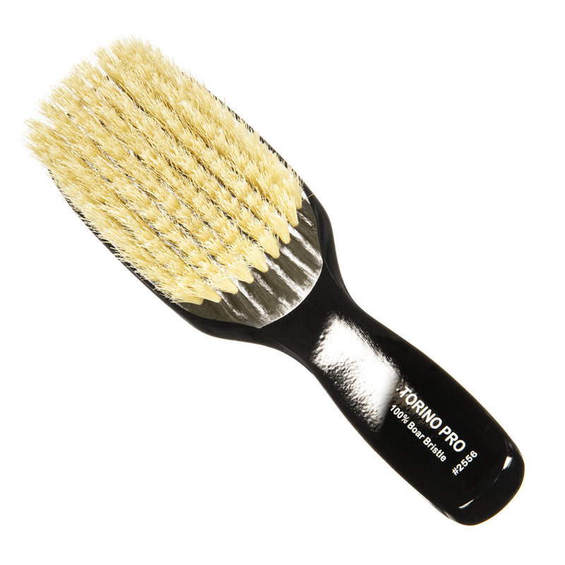 Torino Pro #2556 - Soft Bristles Long Handle Wave  Brush