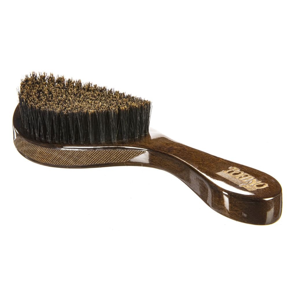 Torino Pro Wave Brush #102 - 360 Waves Curved Soft Brush -100% Pure Boar Bristles