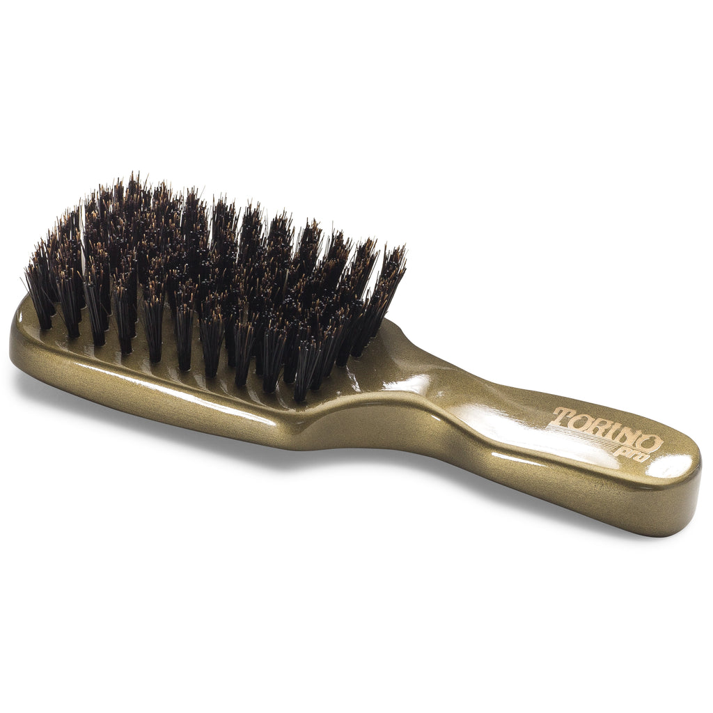 Torino Pro Club Brush #890 (MEDIUM HARD) by Brush King - Men's Travel Size Hair Brush, Club Style - Reinforced Boar Bristles - Great for Thick Hair