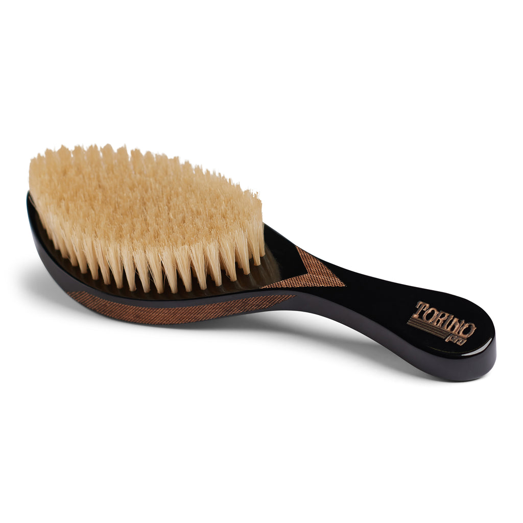 Torino Pro Wave Brushes By Brush King #99- Medium Curved for 360 Waves with Extra long 100% Boar Bristles