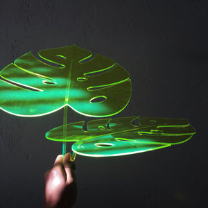 Fluorescent Monstera Leaf Sculpture