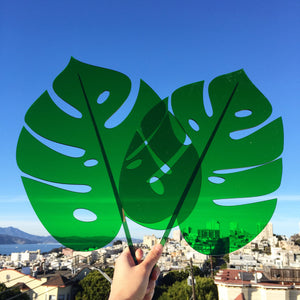 Green Monstera Leaf Sculpture
