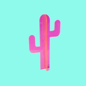 Small Fluorescent Pink Cactus Sculpture