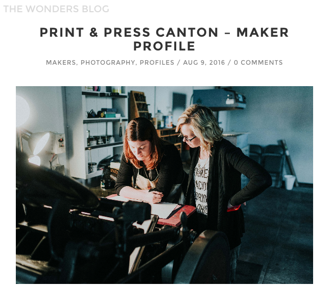 The Wonders Blog Feature on Print & Press Shop & Studios