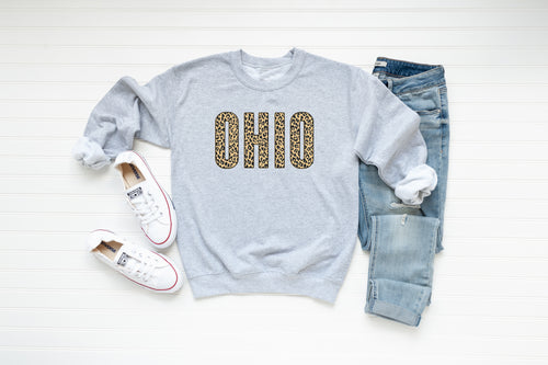Animal Print Block Ohio Crew Fleece