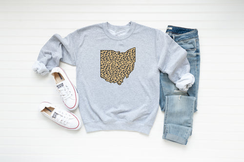 Animal Print Ohio Crew Fleece