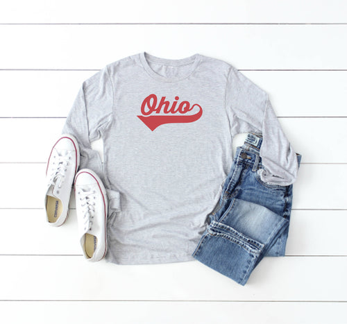Athletic Script Ohio Long Sleeve Tee - Little Chicago Clothing Co.