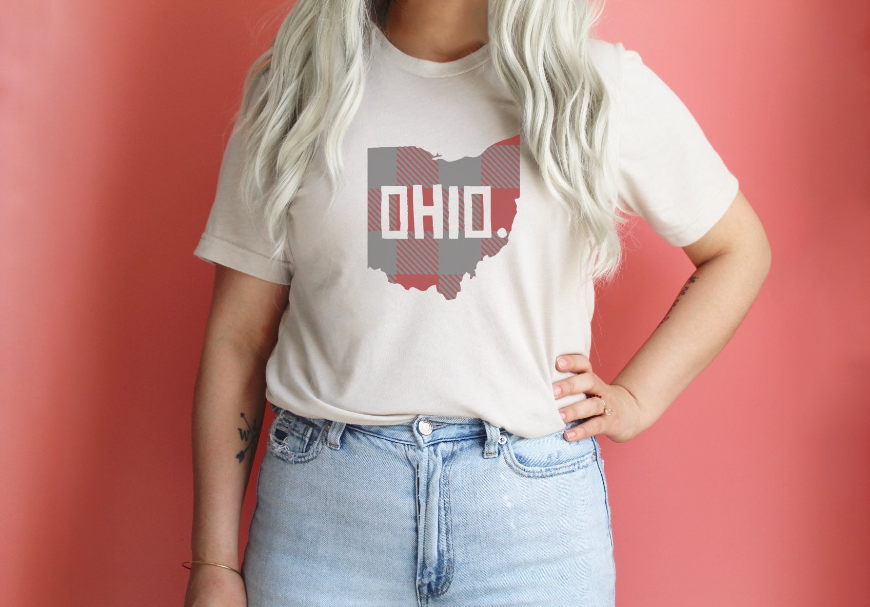 Buckeye Plaid Ohio Tee