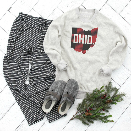 Buffalo Plaid Ohio Crewneck Fleece