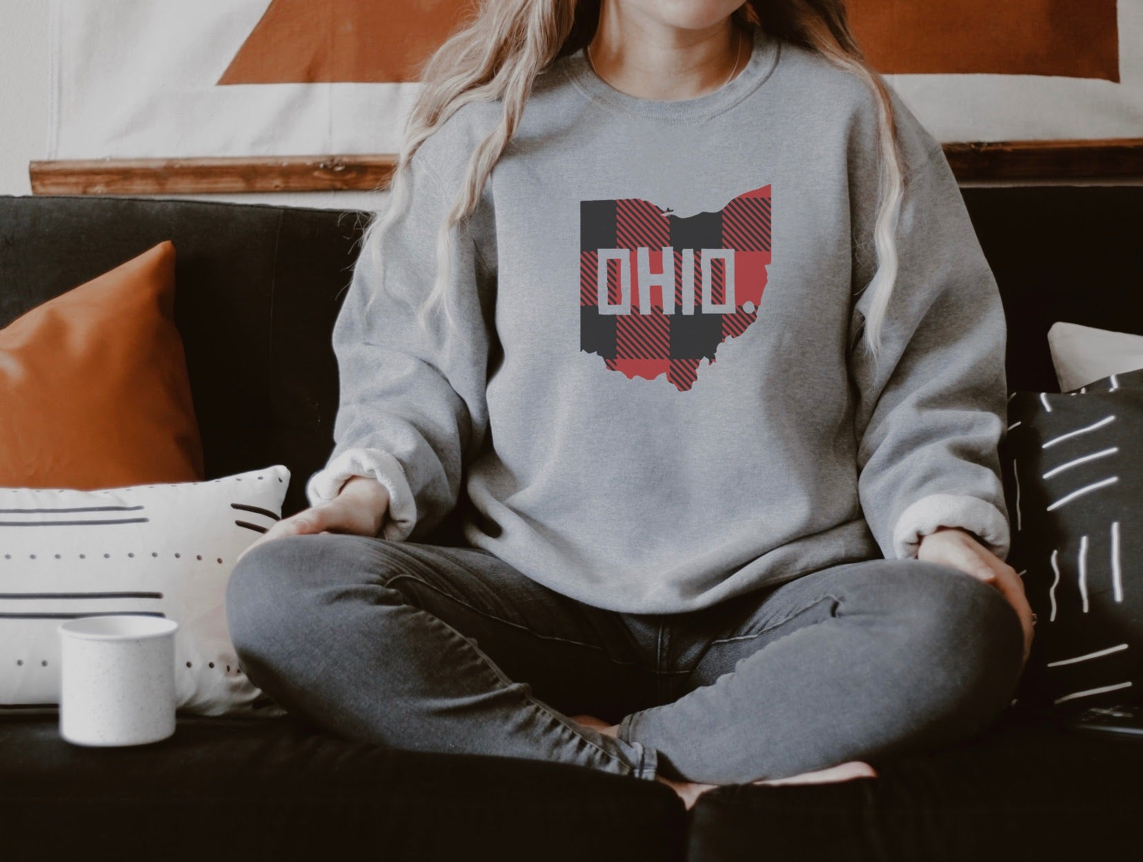 Buffalo Plaid Ohio Crew Fleece Sweatshirt