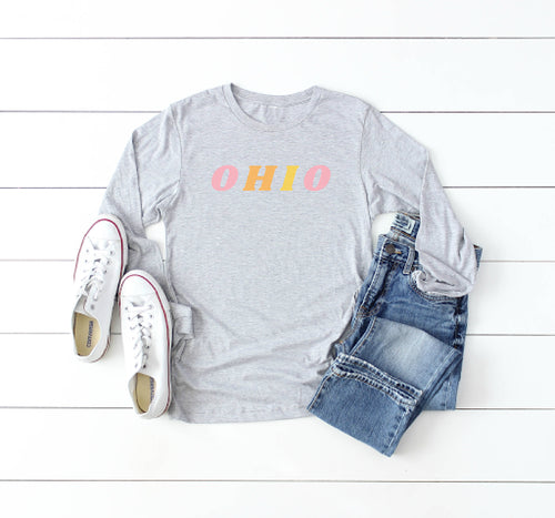 Colorful Ohio Long Sleeve Tee - Little Chicago Clothing Co.