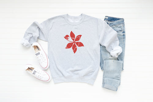 Buckeye Leaf Ohio Crew Fleece Sweatshirt