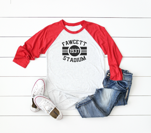 Fawcett Stadium Baseball Tee - Little Chicago Clothing Co.