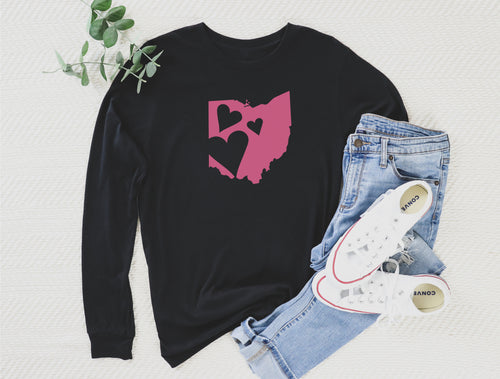 Ohio Hearts Long Sleeve Tee