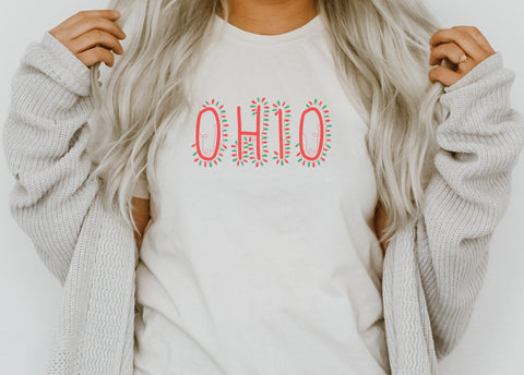 Retro Ohio Lady V-Neck Tee