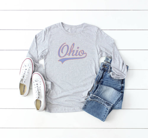 Retro Ohio Long Sleeve Tee - Little Chicago Clothing Co.
