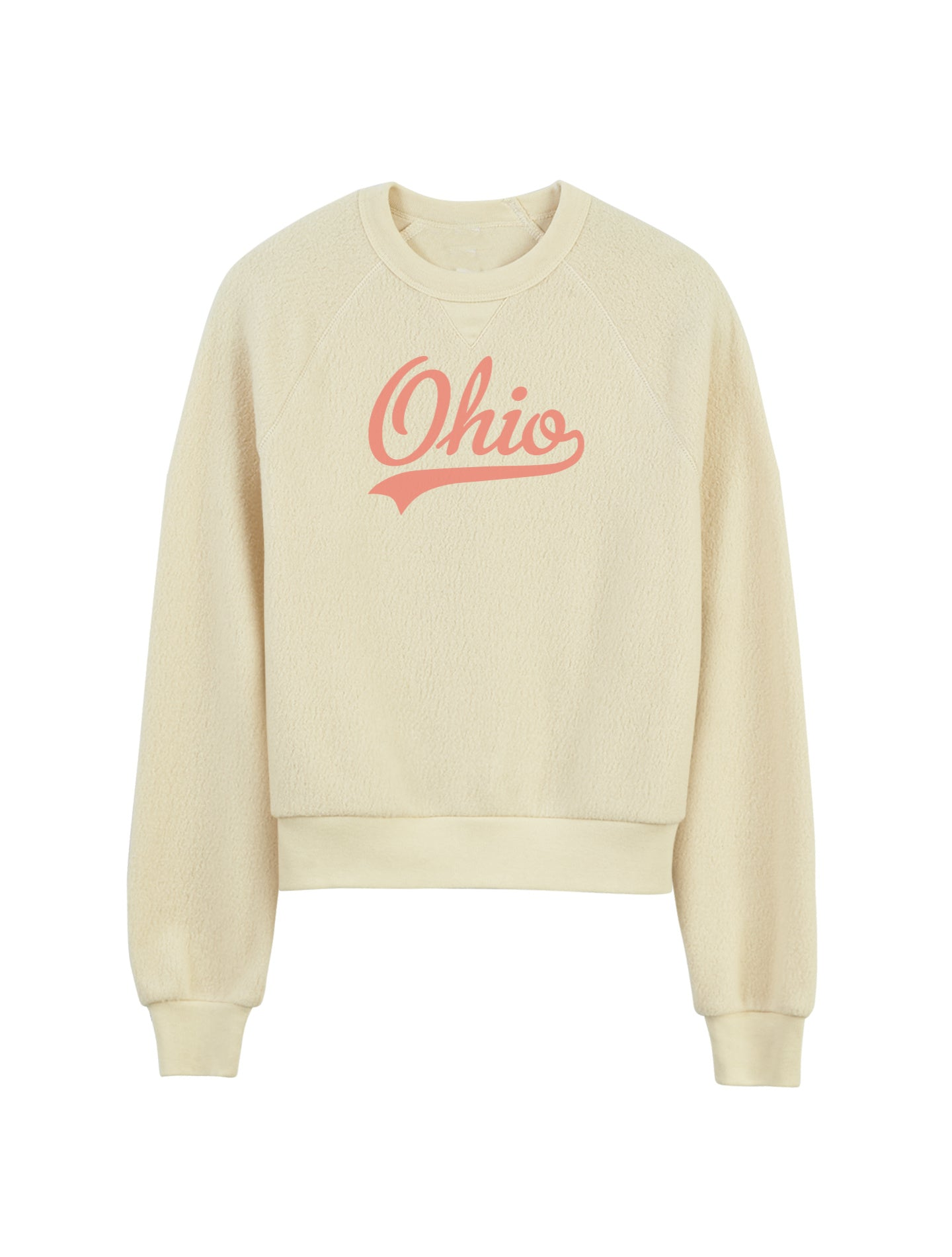 Retro Ohio Fuzzy Crop Lady Fleece Pullover - Little Chicago Clothing Co.